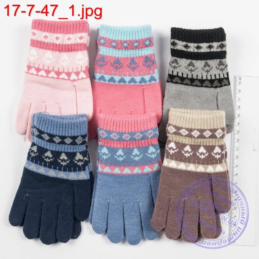 Оптом шерстяные перчатки для девочек и мальчиков 2, 3, 4 года - №17-7-47, фото 2