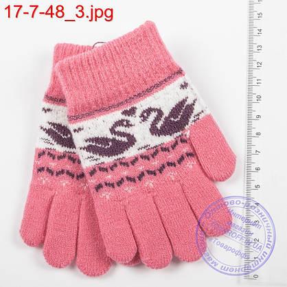Оптом шерстяные перчатки для девочек и мальчиков до 3-х лет с лебедями - №17-7-48, фото 3