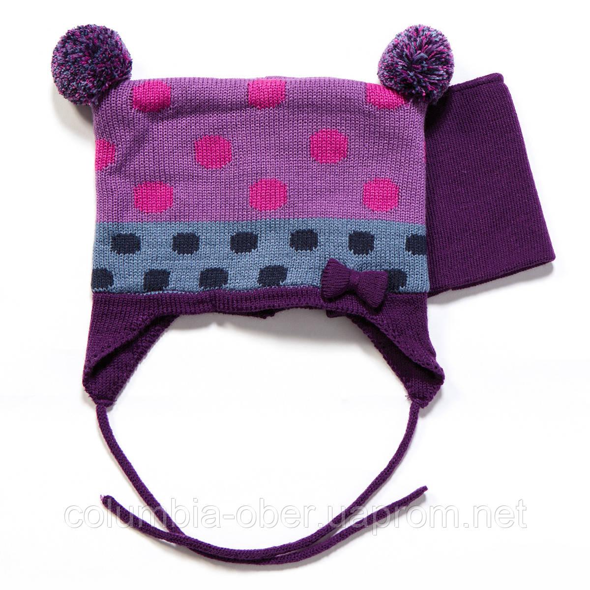 Зимняя шапка+манишка для девочки PELUCHE F17 ACC 08 BF Royal Berry. Размеры 0/6 м - 2/3 г .