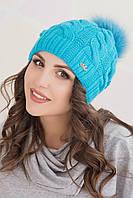 Женская вязаная шапка в 14ти цветах AC AC Ирэн цветной помпон