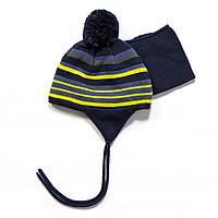 Зимняя шапка + манишка для мальчика PELUCHE F17 ACC 03 BG Dk Heaven. Размеры 12/24 мес - 2/3.