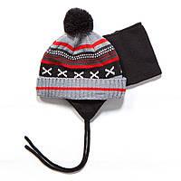 Зимняя шапка + манишка для мальчика PELUCHE F17 ACC 07 BG Deep Grey. Размеры 0/6 мес - 2/3.