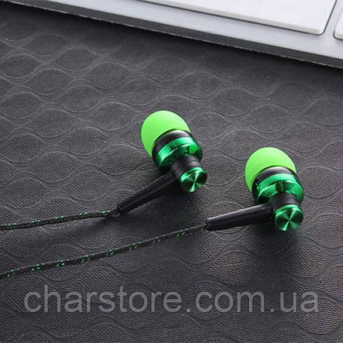 Наушники черные с зеленым 3.5мм (хороший бас)