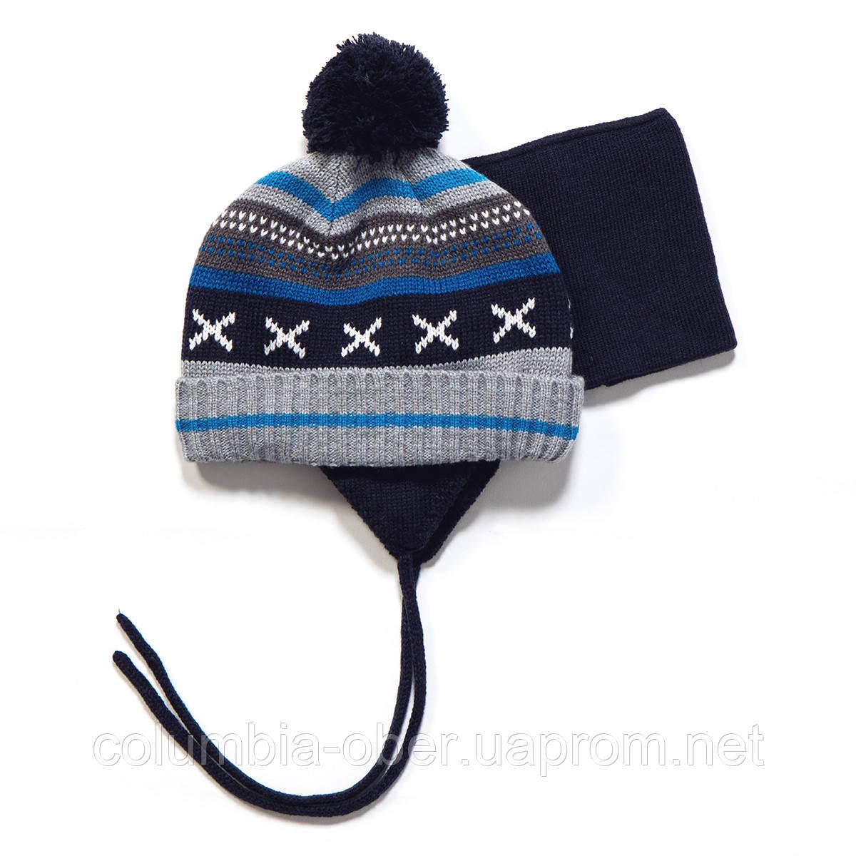 Зимняя шапка + манишка для мальчика PELUCHE F17 ACC 07 BG GHT-Navy. Размеры 0/6 мес - 2/3.