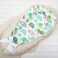 """Кокон - люлька для младенца """"Цветной слоник"""", фото 1"""