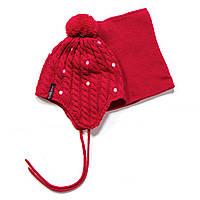 Зимняя шапка+манишка для девочки PELUCHE F17 ACC 68 EF Scarlet. Размеры 3/5 - 6/8.