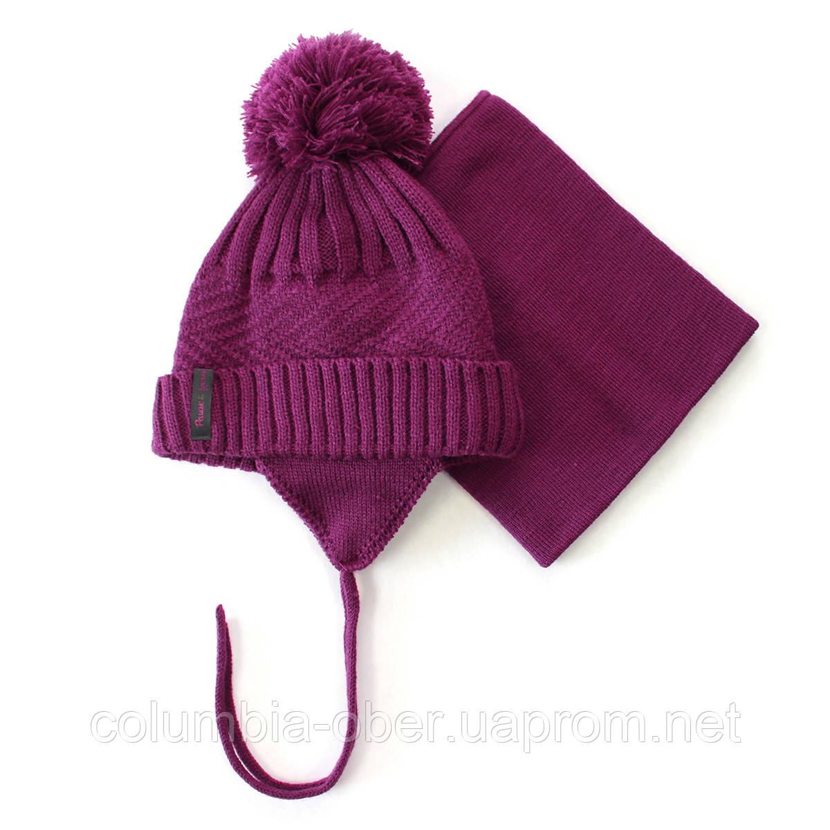 Зимняя шапка+манишка для девочки PELUCHE F17 ACC 72 EF Amethyste. Размеры 3/5 - 6/8.