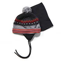 Зимняя шапка+манишка для мальчика PELUCHE F17 ACC 51 EG Deep Grey. Размеры 3/5 и 6/8.