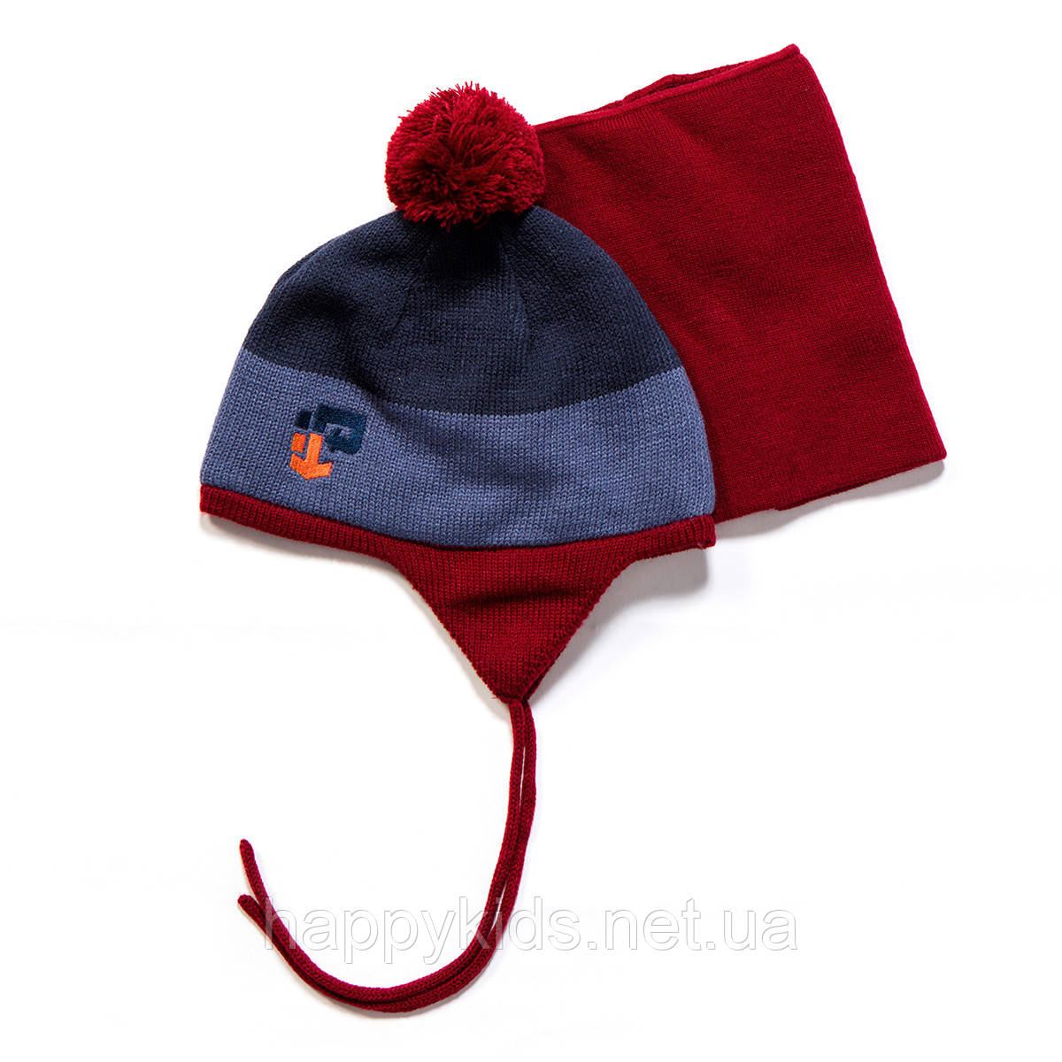 Зимняя шапка+манишка для мальчика PELUCHE F17 ACC 53 EG Spicy Red Pepper. Размеры 3/5 и 6/8.