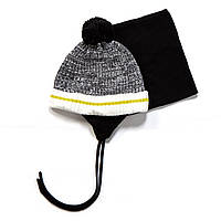 Зимняя шапка+манишка для мальчика PELUCHE F17 ACC 61 EG Black. Размеры 3/5 и 6/8.