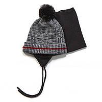 Зимняя шапка+манишка для мальчика PELUCHE F17 ACC 63 EG Deep Grey. Размеры 3/5 и 6/8.