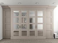 Классический распашной шкаф с рамочными фасадами, цвет слоновая кость