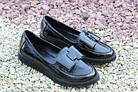 Стильные женские туфельки натур лак натур кожа
