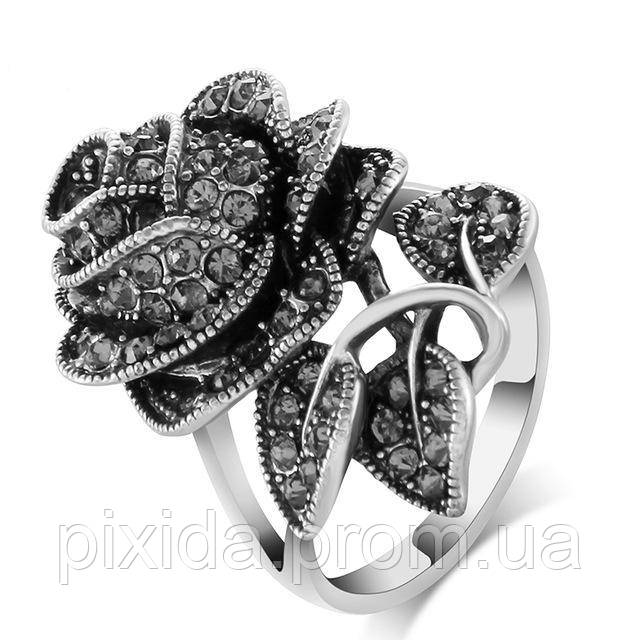 Кольцо Черная роза горный хрусталь Винтаж