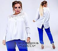 Белая блуза с гипюровыми вставками