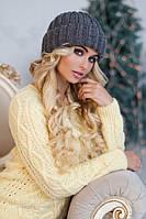 Женская шапка зимняя объемная 4357