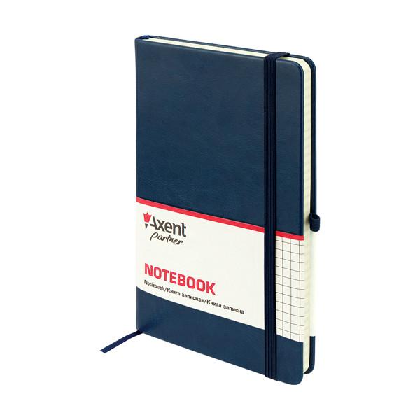 Книга записная А5, 125*195 мм, 96 листов, клетка, синяя, Partner Lux, Axent, 8202-02-A, 33016