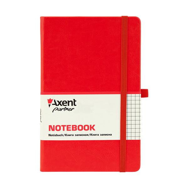 Книга записная А5, 125*195 мм, 96 листов, клетка, красная, Partner Lux, Axent, 8202-06-A, 33019