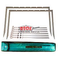 Мангал походный (рамка) (сталь 1,5мм) в комплекте с 6 шампурами Mousson TIRO 6IBS