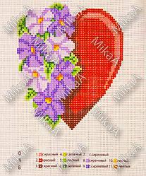 Схема нанесенная на канву для вышивки нитками - Цветы моего сердца