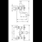 Двухвентильный смеситель  для ванны GENEBRE NRC  с душевым гарнитуром  68526 09 45 66, фото 2