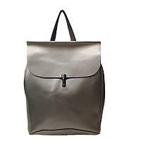 Рюкзк-сумка из натуральной кожи серебристый