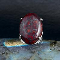Яшма красная, 25*18 мм., серебро 925, кольцо, 610КЯ