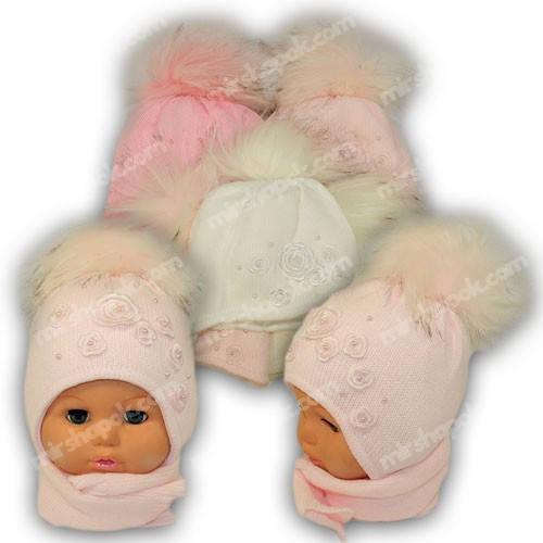 Детский комплект - шапка и шарф для девочки, p. 44-46, Ambra (Польша), утеплитель Iso Soft, C15