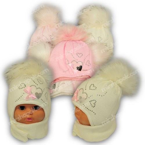 Детский комплект - шапка и шарф для девочки, p. 42-44, Ambra (Польша), утеплитель Iso Soft, C17
