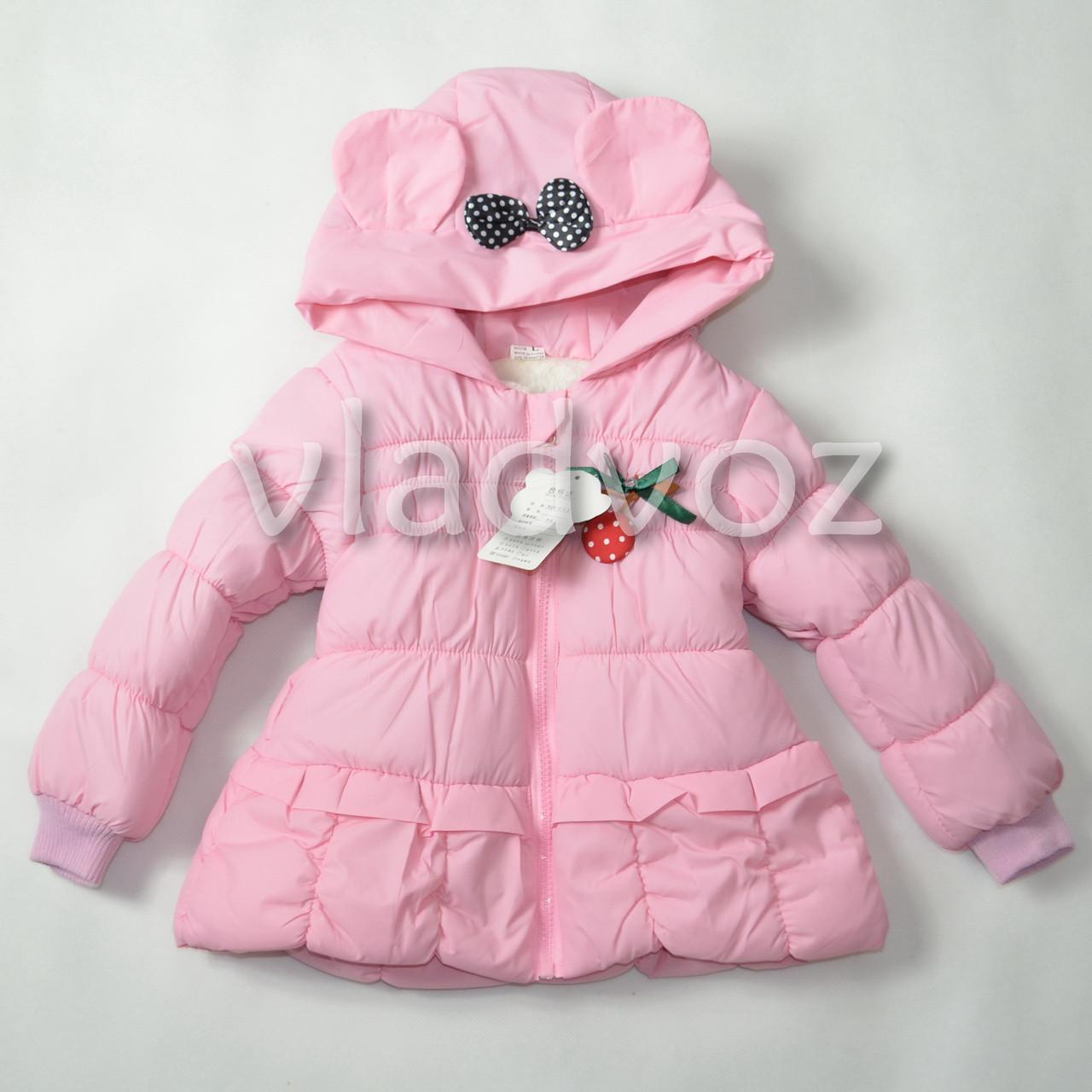Детская двухсторонняя куртка ветровка для девочки розовая 2-3 года