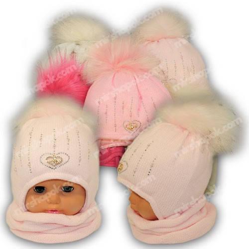 Детский комплект - шапка и шарф (хомут) для девочки, p. 44-46, Ambra (Польша), утеплитель Iso Soft, C26