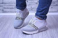 Стильные кроссовки M0$chin0 серебристые, фото 1