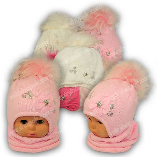 Детский комплект - шапка и шарф (хомут) для девочки, p. 44-46, Ambra (Польша), утеплитель Iso Soft, C28