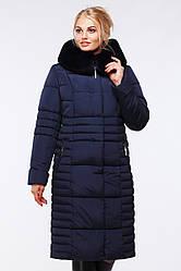 Стильное длинное полуприталенное пальто с высоким воротником-капюшоном+съемный мех, 48,50,52,54,56,58,60,62,64