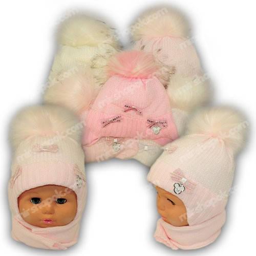 Детский комплект - шапка и шарф для девочки, p. 44-46, Ambra (Польша), утеплитель Iso Soft, G7