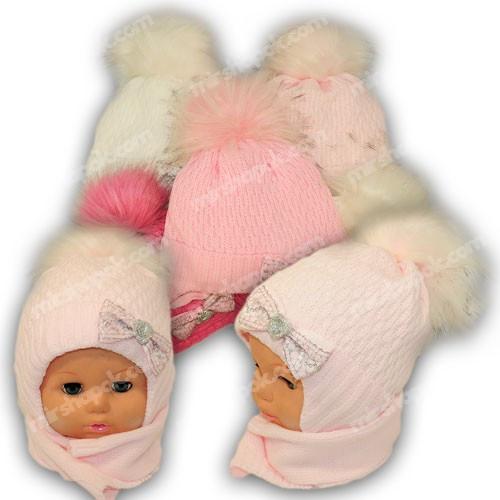 Детский комплект - шапка и шарф для девочки, p. 44-46, Ambra (Польша), утеплитель Iso Soft, G11