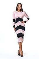 Женское платье приталенного силуэта с контрастными вставками Зоряна ниже колена 42-56 размер