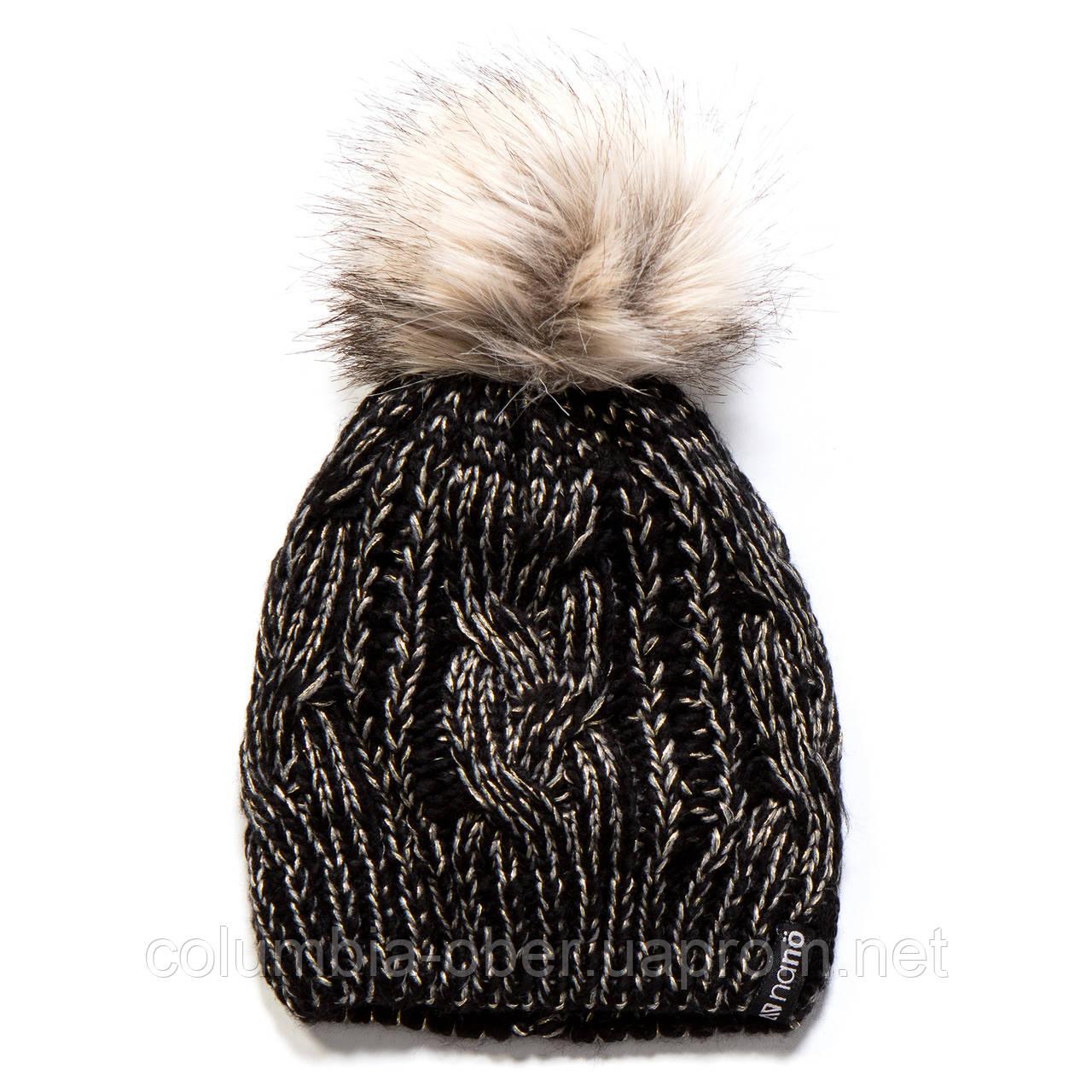 Зимняя детская шапка для девочки Nano F17 TU 1252Black / Grey. Размеры  4/6х- 7-12.