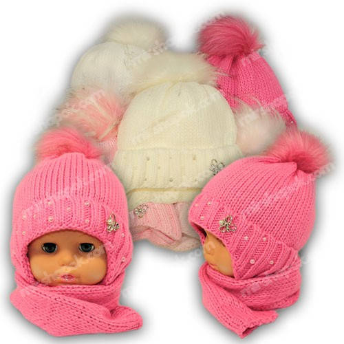 Детский комплект - шапка и шарф для девочки, p. 44-46, Ambra (Польша), утеплитель Iso Soft, G12