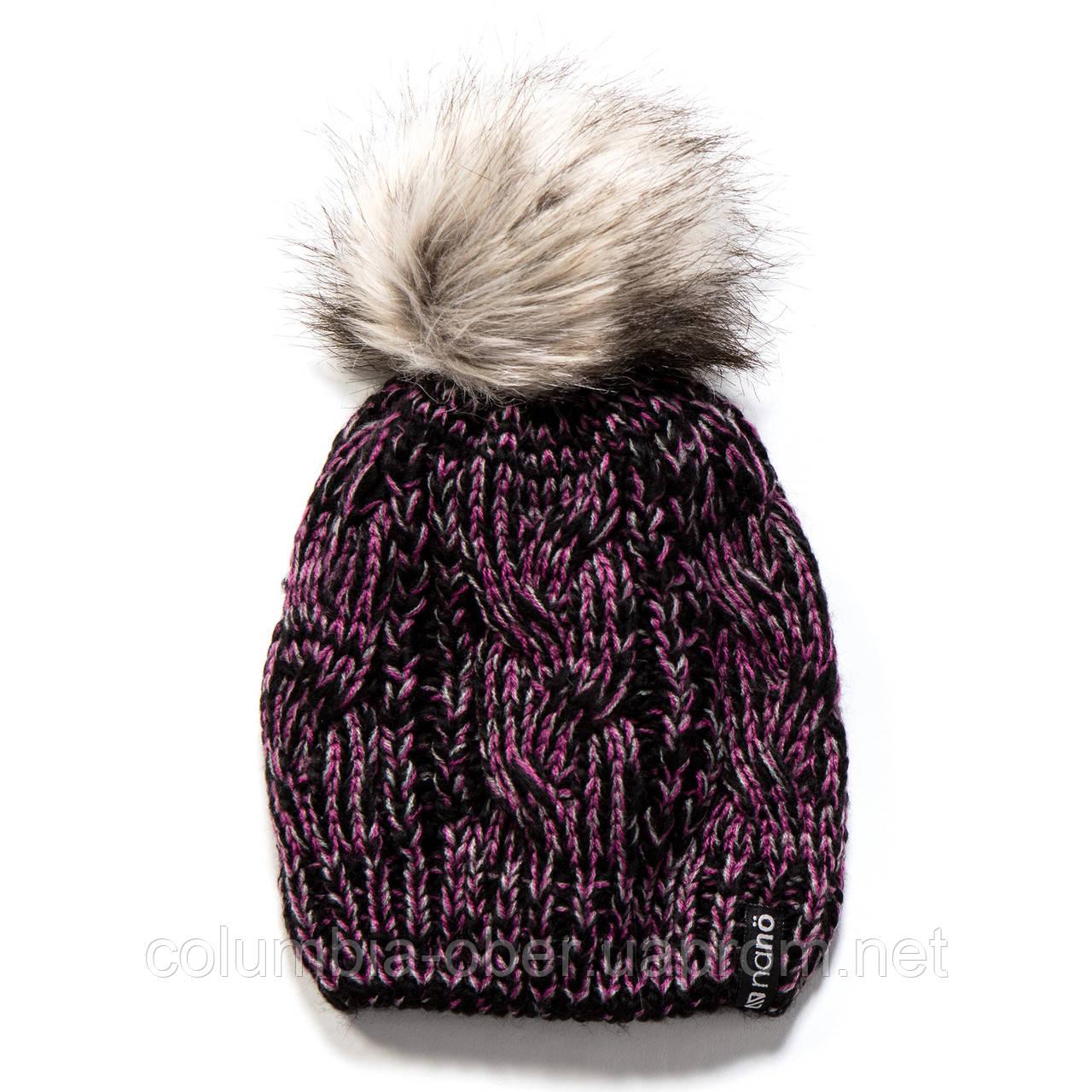 Зимняя детская шапка для девочки Nano F17 TU 1252Black / Pink. Размеры  4/6х- 7-12.
