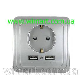 Розетка настенная 2 USB 2A серебро.
