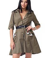 Женское платье из парки (2054 br) зеленый