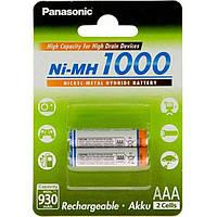 Перезаряжаемая батарейка (аккумулятор) AAA, 1000 mAh, Panasonic, 2 шт, 1.2V, (BK-4HGAE/2BE)
