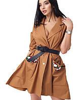 Женское платье из парки (2054 br) коричневый