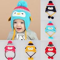 """Детские зимние шапочки """"Пингвинчик"""" (только розовый), фото 1"""