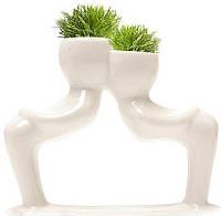 Травянчик керамический двойной белый. Поцелуй