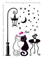 Интерьерная наклейка на стену Влюбленные коты (DM57-0099)