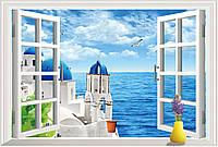 3D Интерьерная наклейка на стену Окно на море (AY9234C)
