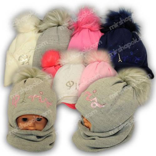 Детский комплект - шапка и шарф (хомут) для девочки, p. 48-50, Ambra (Польша), утеплитель Iso Soft, N50