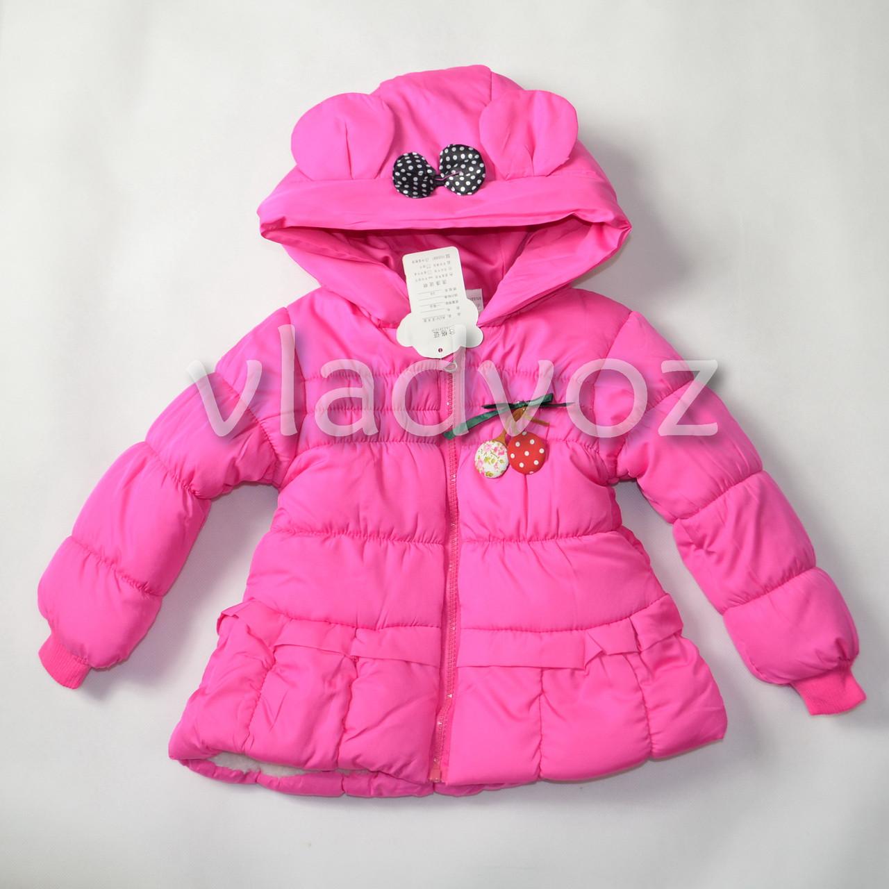 Детская двухсторонняя куртка ветровка для девочки малиновая 2-3 года